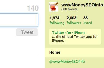 Twitter: У меня 2,003 Followers и 666 Твитов
