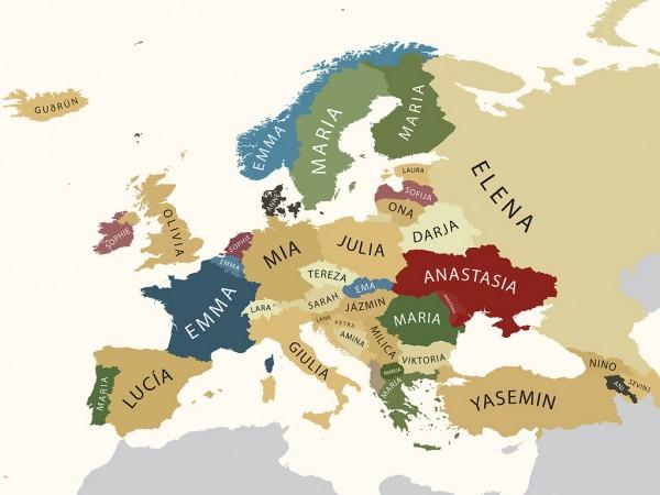Карта самых распространенных женских имен по европейским странам.