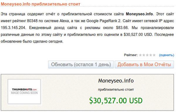 Moneyseo.info приблизительно стоит - $30,527.00 USD