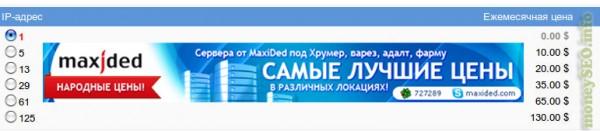 Стоимость дополнительных IP для выделенных серверов в Укриане.