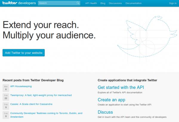 зарегистрировать приложение в твиттере