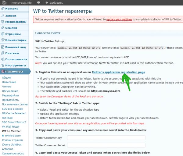 Настройка плагина WP to Twitter.