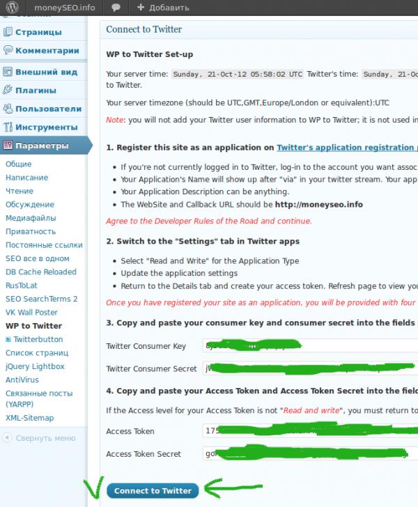 Настройка плагина WP to Twitter. Настройка Приложения в twitter