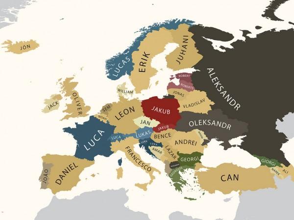 Карта самых распространенных мужских имен по европейским странам.
