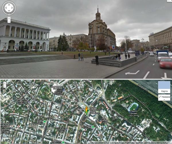 Просмотра улиц на Картах Google в Украине