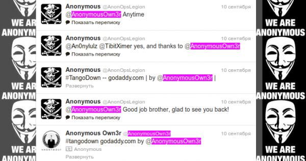 Твиттер регистратора доменов хакерской группы Anonymous