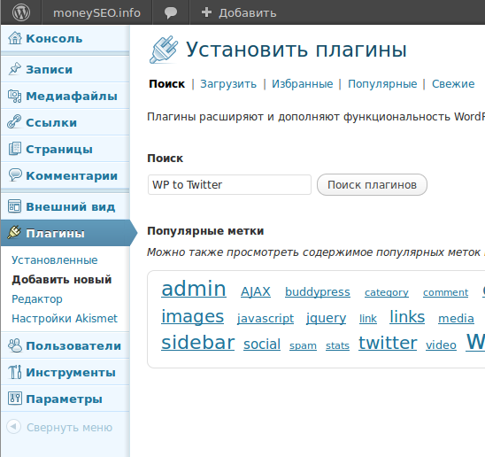 Установка плагина WP to Twitter.