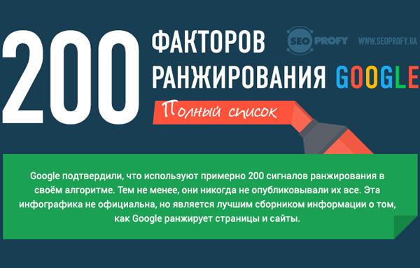 200 факторов ранжирования в Google от seoprofy.ua